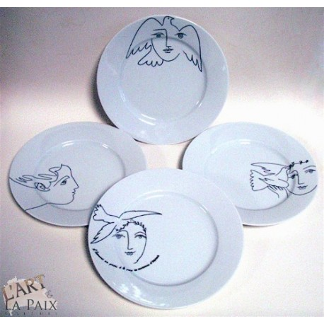 Lot de 4 assiettes Picasso